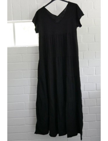 Damen Maxi Kleid schwarz black Baumwolle uni Onesize 38 - 42