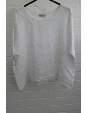 ESViViD Oversize Damen Bluse 100% Leinen weiß white Onesize 38 - 46