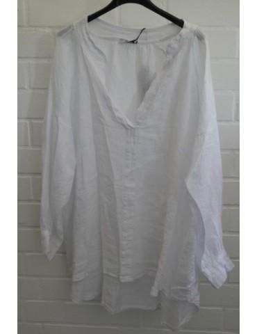 Oversize Damen Bluse Shirt 100% Leinen weiß white Ballonärmel Onesize 38 - 48