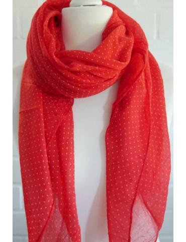 Schal Tuch Loop Made in Italy Seide Baumwolle rot feuerrot weiß Mini Punkte