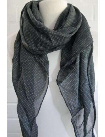 Schal Tuch Loop Made in Italy Seide Baumwolle anthrazit weiß Krawatten Muster