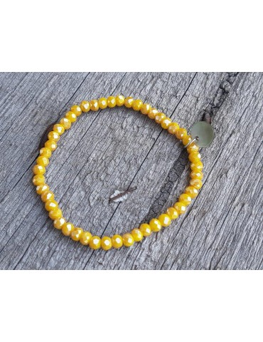 Armband Kristallarmband Perlen senf gelb klein Glitzer Schimmer elastisch