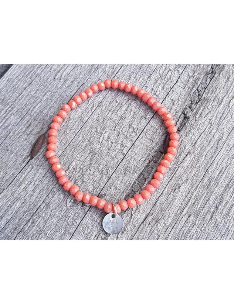 Armband Kristallarmband Perlen lachs matt klein Glitzer Schimmer elastisch