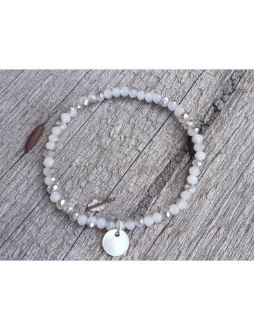 Armband Kristallarmband Perlen hellgrau grau klein Glitzer Schimmer elastisch