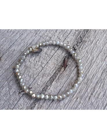Armband Kristallarmband Perlen grau -braun anthrazit klein Glitzer Schimmer elastisch