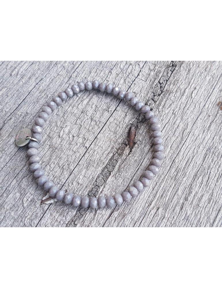 Armband Kristallarmband Perlen grau matt klein Glitzer Schimmer elastisch