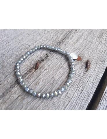 Armband Kristallarmband Perlen grau silber klein Glitzer Schimmer elastisch