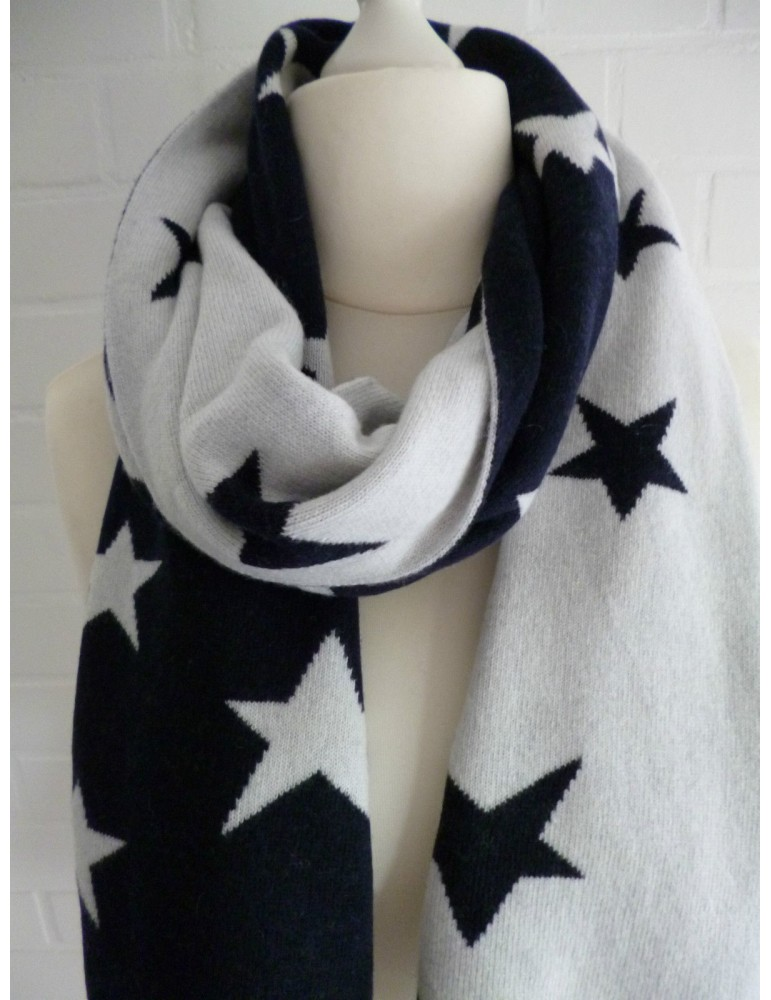 Zwillingsherz Wende Schal dunkelblau creme Sterne mit Kaschmir