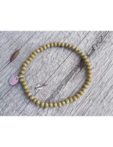 Armband Kristallarmband Perlen khaki oliv matt klein Glitzer Schimmer elastisch