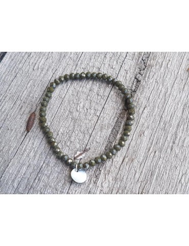 Armband Kristallarmband Perlen dunkelkhaki klein Glitzer Schimmer elastisch
