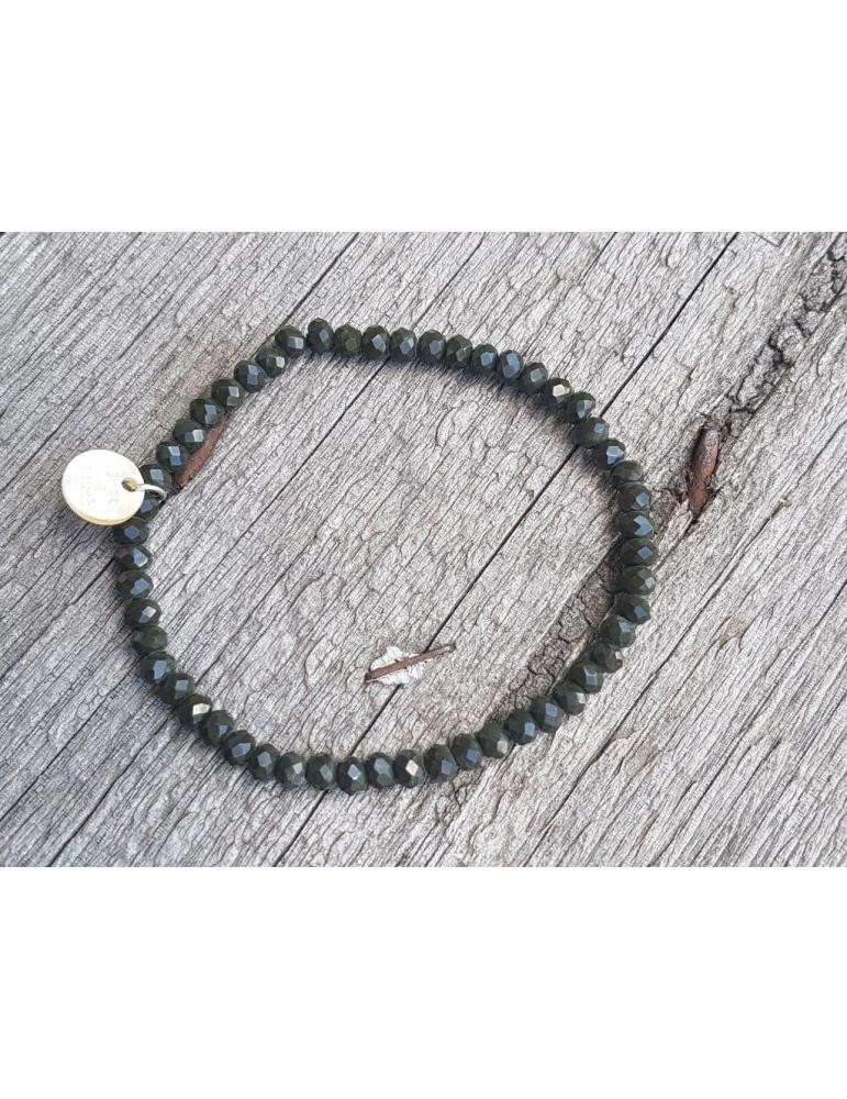 Armband Kristallarmband Perlen dunkelkhaki schwarz klein Glitzer Schimmer elastisch