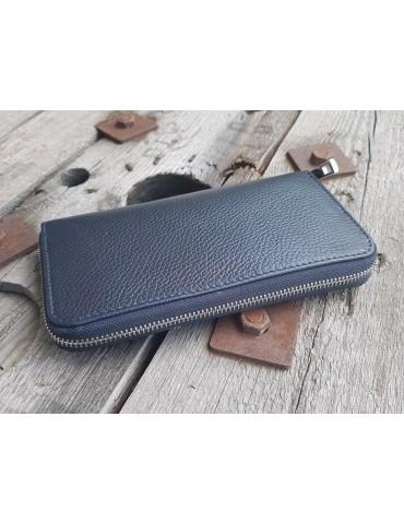 Portemonnaie Geldbörse Börse dunkelblau marine blau Echtes Leder uni