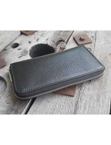 Portemonnaie Geldbörse Börse schwarz black Echtes Leder uni
