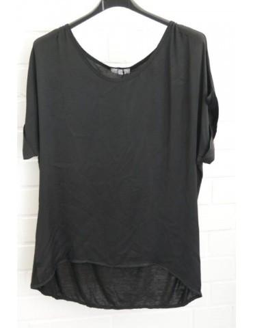 Damen Shirt kurzarm schwarz black uni Satin Viskose Onesize ca. 38 - 42
