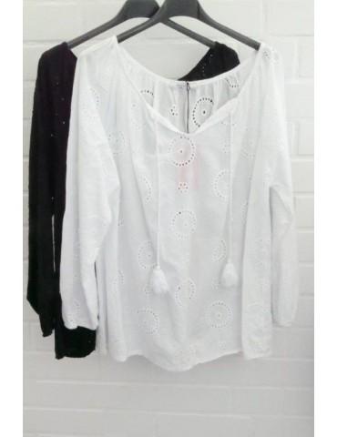 Damen Bluse weiß white verspielt Stickerei Onesize ca. 36 - 40