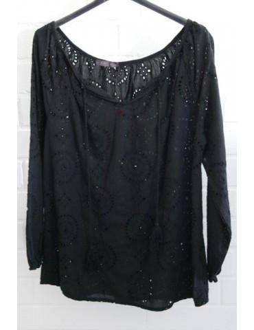 Damen Bluse schwarz black verspielt Stickerei Onesize ca. 36 - 40