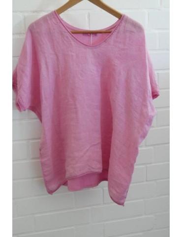 Damen Shirt kurzarm rose pink uni mit Leinen Baumwolle Onesize ca. 38 - 44