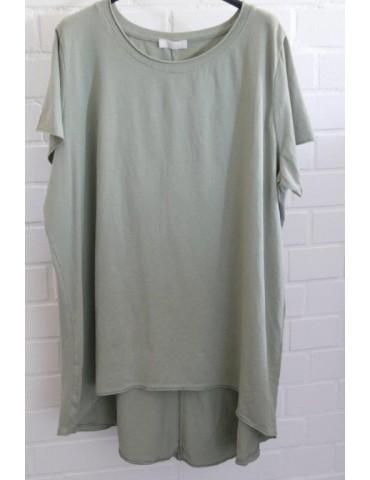 Oversize Damen Shirt kurzarm khaki oliv grün Baumwolle Onesize 40 - 48