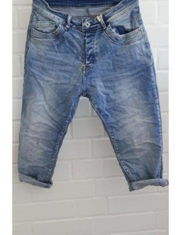 Melly & Co Bequeme Sportliche Damen Capri Jeans Hose blau