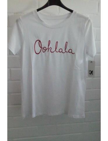 "Damen Shirt kurzarm weiß rot ""Oohlala"" mit Baumwolle Onesize ca. 38 - 42"