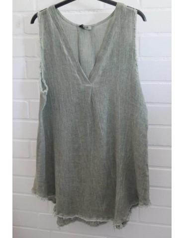 Xuna Damen Top Shirt Leinen Baumwolle oliv khaki Onesize 38 - 42