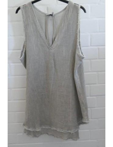 Xuna Damen Top Shirt Leinen Baumwolle hellgrau taupe Onesize 38 - 42