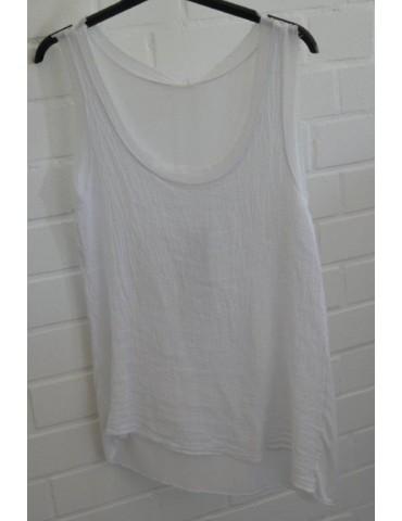 Xuna Damen Top Shirt Leinen Baumwolle weiß white Onesize 38 - 42