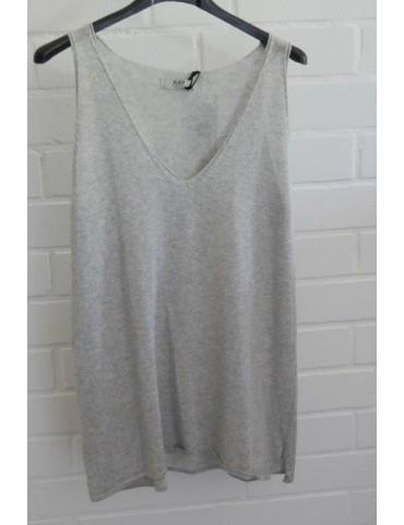 Xuna Damen Strick Top Shirt Baumwolle hellgrau grau Onesize 36 - 40