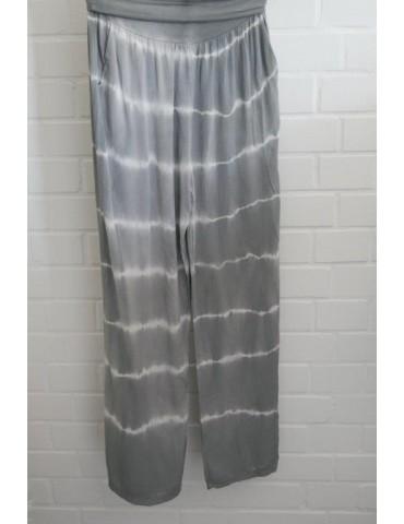 Batik Hose Damenhose hellgrau weiß Onesize 38 - 42 extra lang