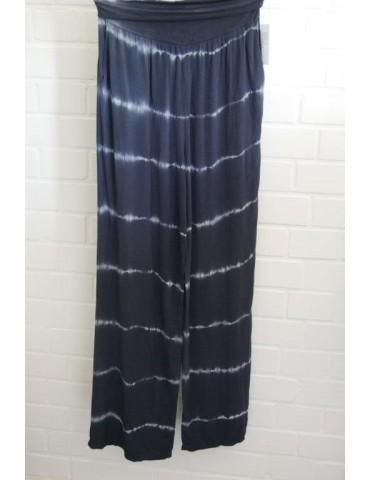 Batik Hose Damenhose dunkelblau weiß Onesize 38 - 42 extra lang
