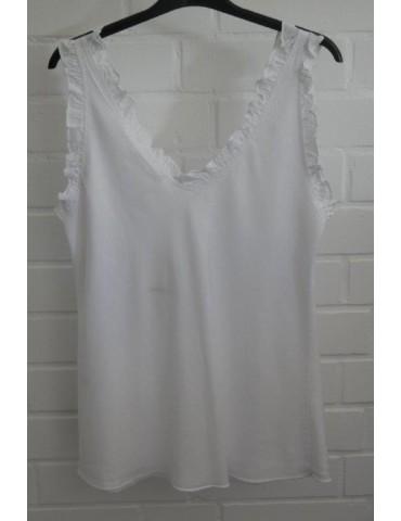 Damen Top Shirt weiß white Rüschen Lyocell Onesize ca. 36 - 42