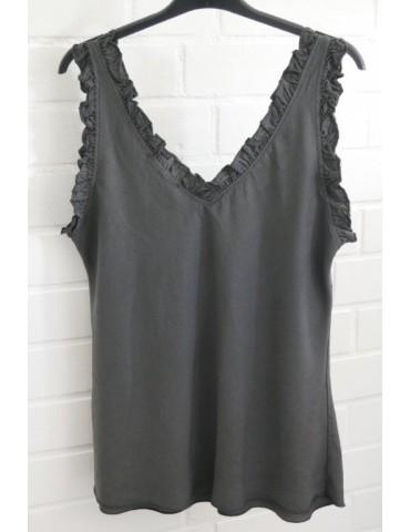 Damen Top Shirt anthrazit grau Rüschen Lyocell Onesize ca. 36 - 42