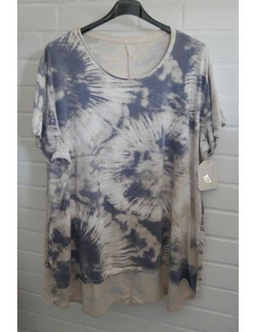 Oversize Damen Batik Shirt kurzarm beige grau creme Baumwolle Onesize 38 - 48