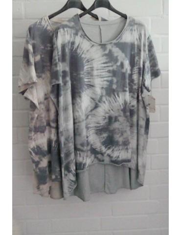 Oversize Damen Batik Shirt kurzarm hellgrau...