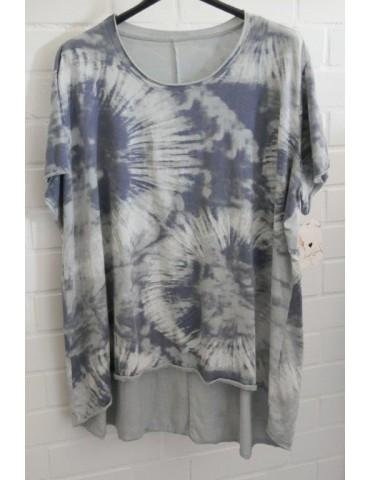 Oversize Damen Batik Shirt kurzarm hellgrau grau Baumwolle Onesize 38 - 48