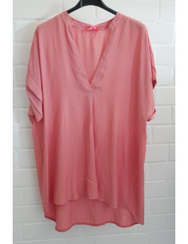 Damen Blusen Shirt kurzarm corall uni Viskose Onesize ca. 38 - 44
