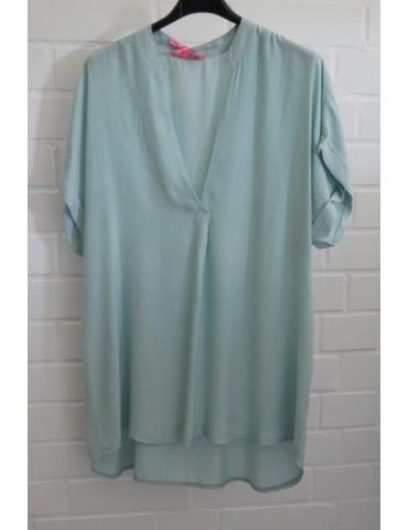 Damen Blusen Shirt kurzarm mint grün uni Viskose Onesize ca. 38 - 44