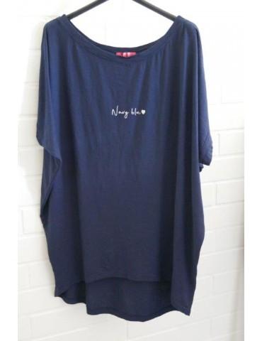 "Damen Shirt kurzarm dunkelblau marine ""Navy Blue"" Baumwolle Onesize 38 - 46"