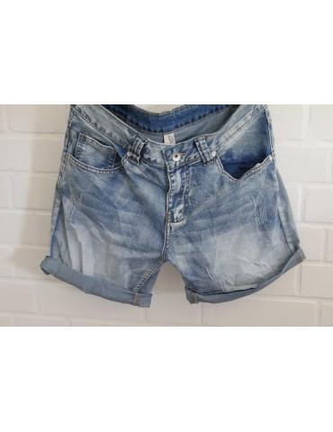 Jeans Shorts stone washed blau mit Baumwolle Gr. L 40 42