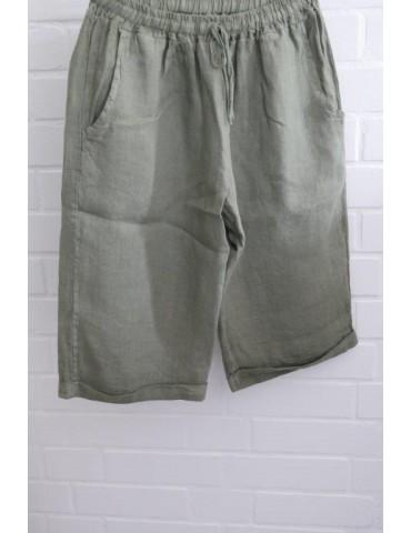 Bequeme Damen 100% Leinen Bermuda Hose oliv khaki kaki uni Onesize 38 40