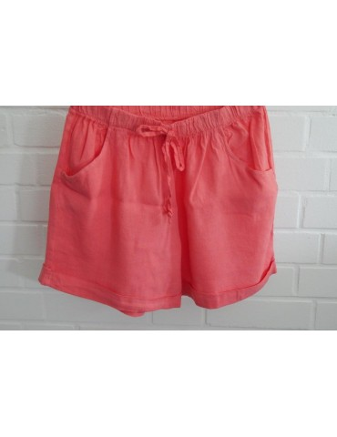 Bequeme Damen 100% Leinen Shorts Hose orange uni Onesize 38 40