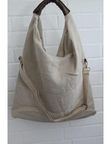 Beutel Leinen Tasche Schultertasche beige sand uni