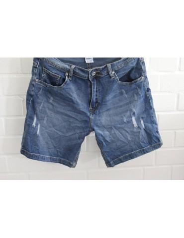 ORMI Jeans Shorts stone washed blau mit Baumwolle Gr. XL 38 40