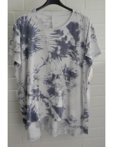 Oversize Damen Batik Shirt kurzarm weiß graublau Baumwolle Onesize 38 - 48