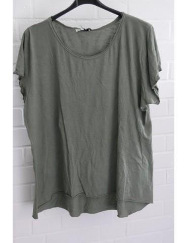 Oversize Damen Shirt kurzarm oliv khaki grün mit Baumwolle Onesize 40 - 48