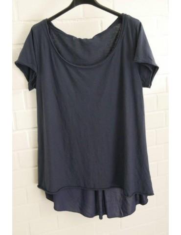 Damen Shirt kurzarm dunkelblau marine uni Baumwolle Onesize 38 - 42