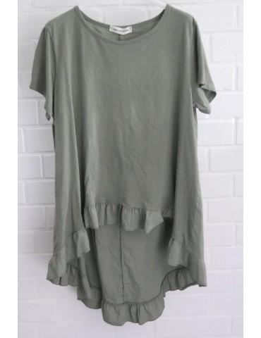 Damen Rüschen Shirt kurzarm oliv khaki grün mit Baumwolle Onesize 38 - 42