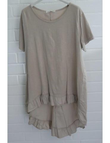 Damen Rüschen Shirt kurzarm beige sand mit Baumwolle Onesize 38 - 42