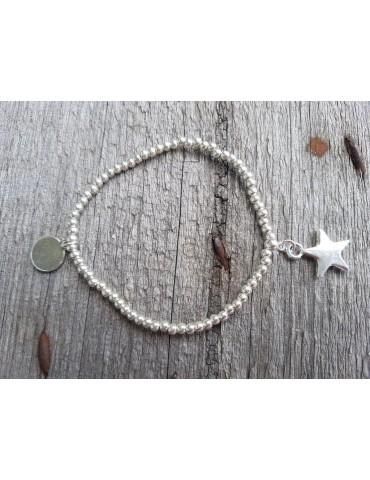 Armband Metallarmband Perlen klein silber Stern Glanz elastisch