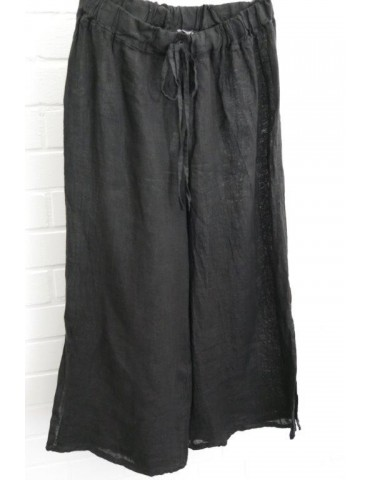 Xuna Damen Hose Culotte Gehrock Leinen schwarz black Onesize 38 42